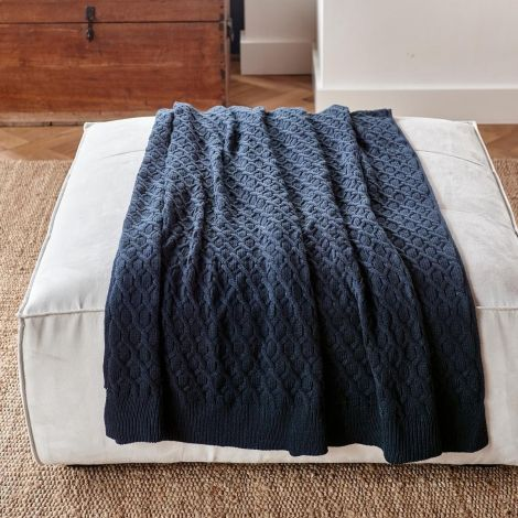 Riviera Maison Knitted Cable Throw Blue 180x130 cm