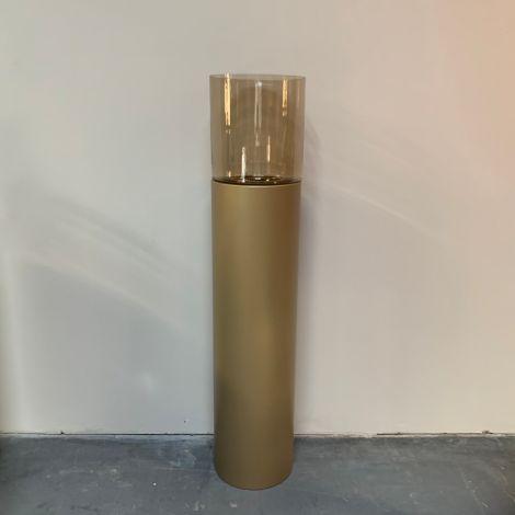 Windlicht goud met Amber glas 130cm