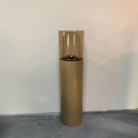 Windlicht goud met Amber glas 110cm