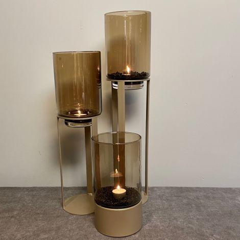 Windlicht Goud met Amber glas Set van 3