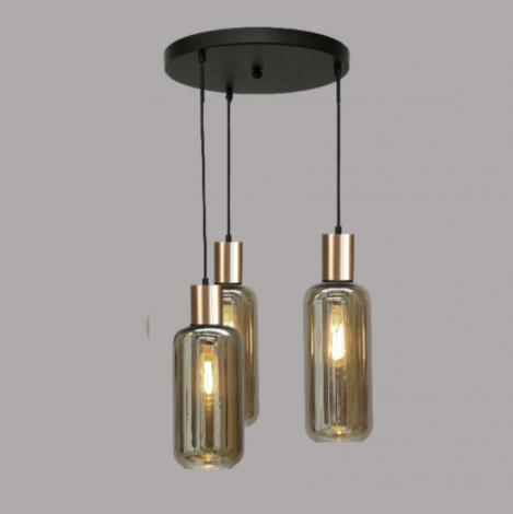 Hanglamp met 3 glazen Cilinder