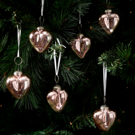 Riviera Maison Merry Christmas Heart Ornaments pink