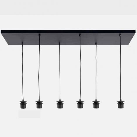 Plafond plaat Zwart 6 Lichts