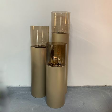 Windlicht goud met Amber 90cm