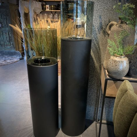 Windlicht met Gerookt glas 130cm